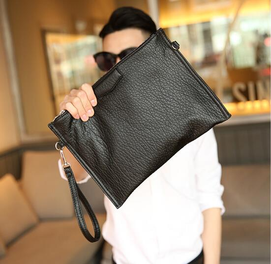 The new all-match Korean men and women washed leather envelope bag