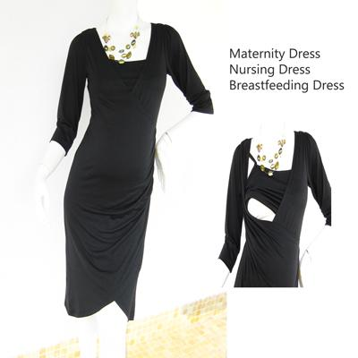 Maternity Dress Nursing Dress -MM1-BLK BAJU MENGANDUNG Mengyusu