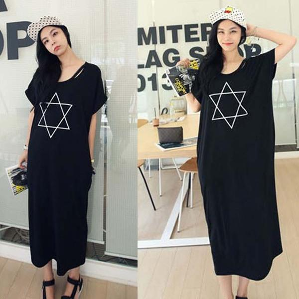 Maternity / Plus Size / Pregnant Maxi Long Dress Black Casual Simple