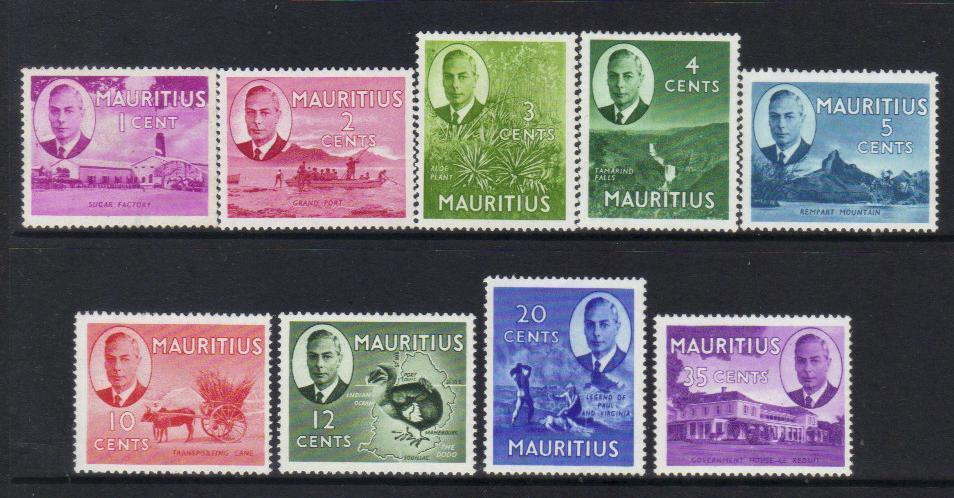 MAURITIUS 1950 KGVI DEFINITIVES MM stamps BJ179
