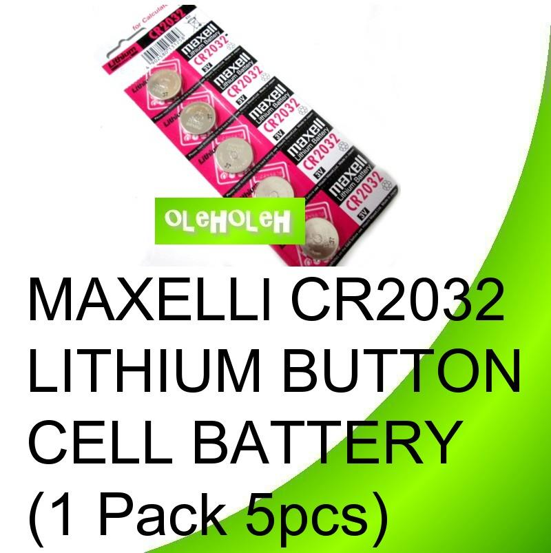 Maxell Original CR2032 Lithium Button Cell Battery (1 Pack 5pcs)