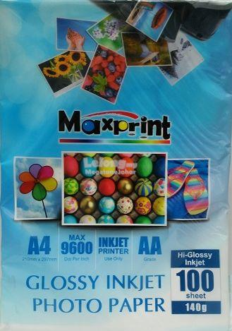 MAXPRINT HIGH GLOSSY INKJET PHOTO PAPER - A4 / 140g / 100s