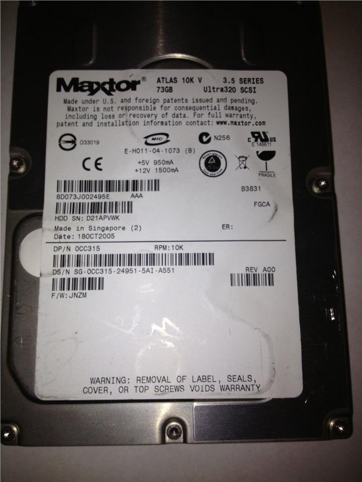 Maxtor Dell 0CC315 CC315 73GB SCSI Hard Drive Server 3.5 10K U320 USED