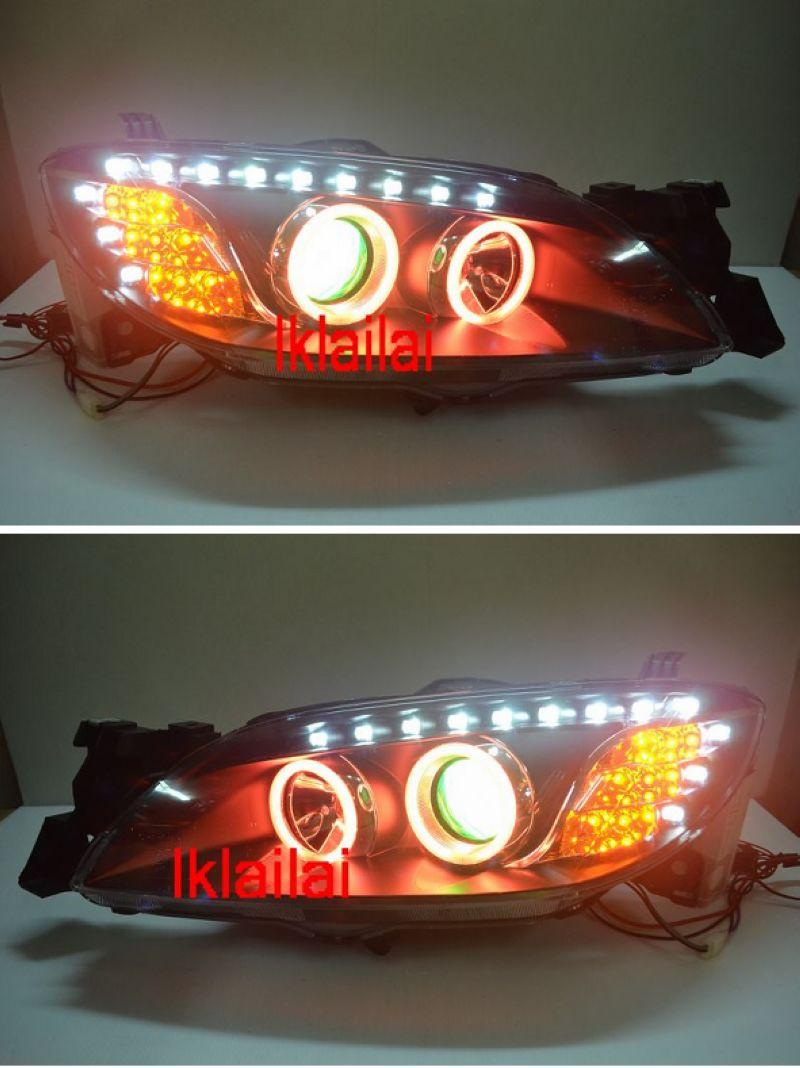 Mazda 3 '03-08 Projector Head Lamp + Colour CCFL Ring + Angel Eye