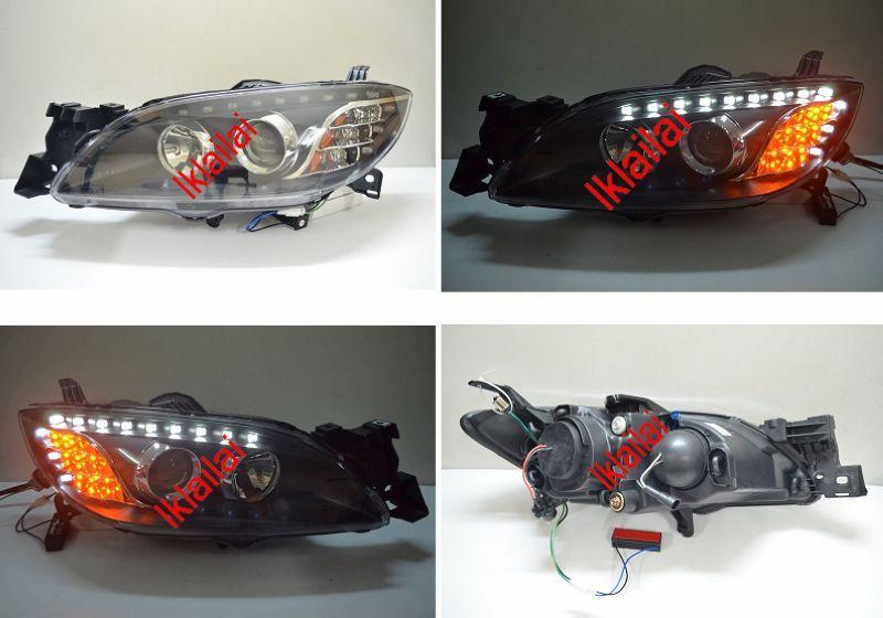 Mazda 3 '03-08 Projector Head Lamp With LED Eye Brown LED Corner