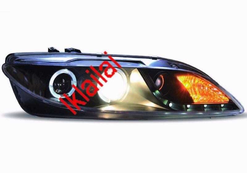 MAZDA 6 '02-07 Projector Ring Head Lamp with DRL [Black Housing]