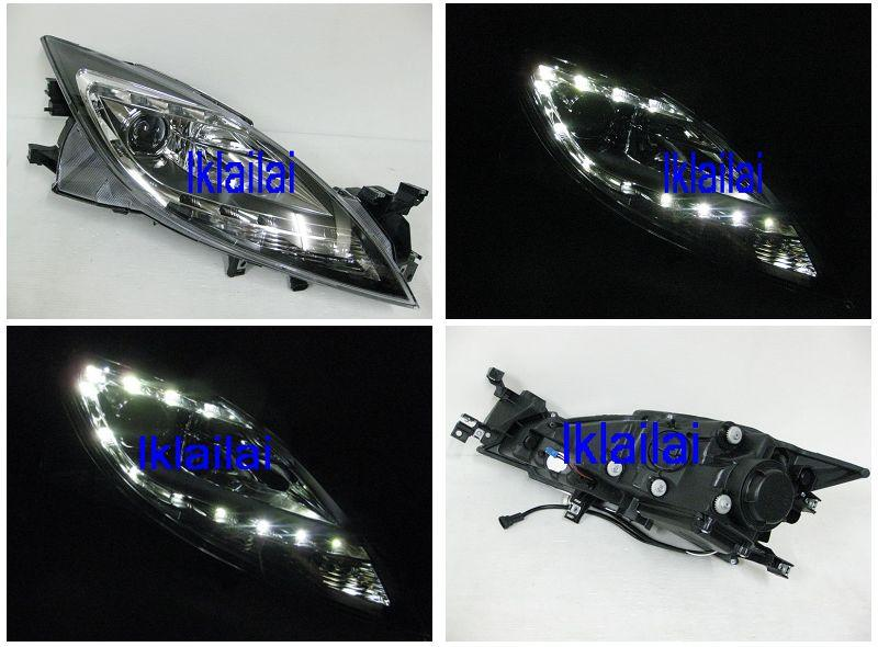 Mazda 6 '11-12 R8 DRL Projector Head Lamp [Black Housing]