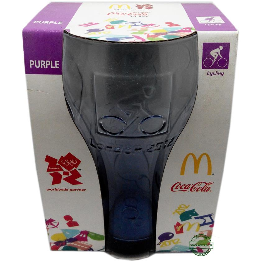 McDonald's Coke Cola London Olympics 2012 Glass 16oz Purple Cycling