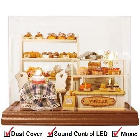 Medium DIY Miniature Glass House Series [Bakery] + Music+ Dust Cover