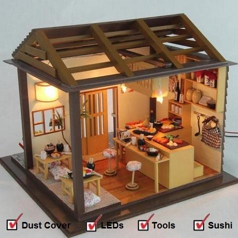 Medium DIY Miniature Romantic Scene Series [Sakura Sushi Shop]+Cover