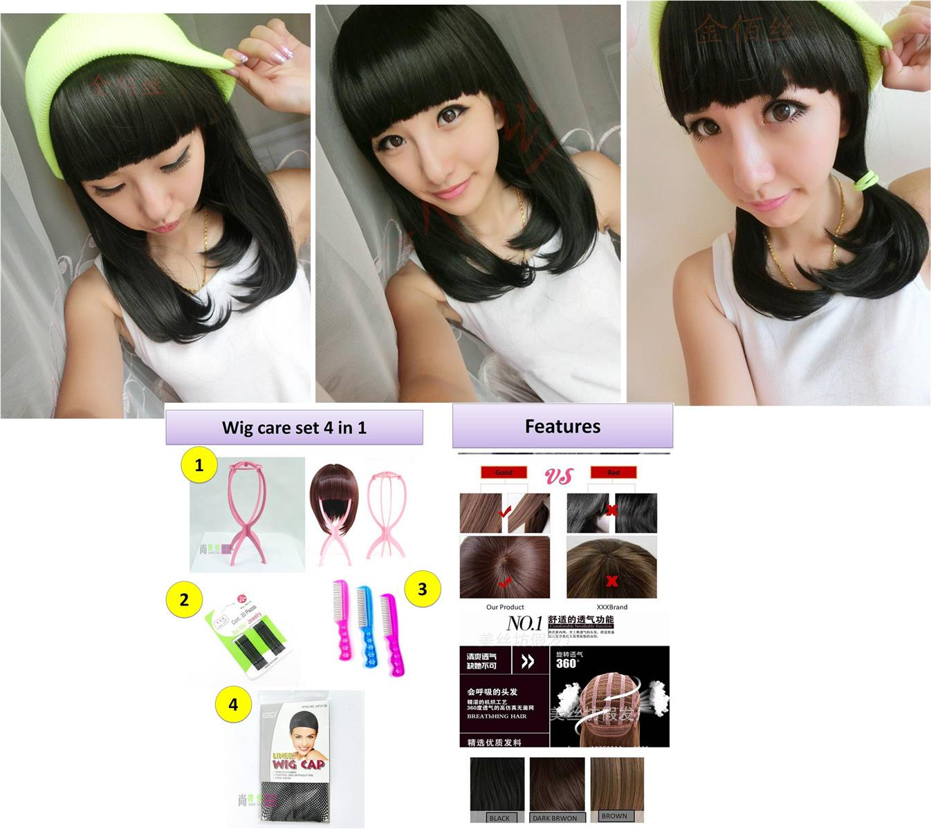 Medium wig*rambut palsu* ready stock 25