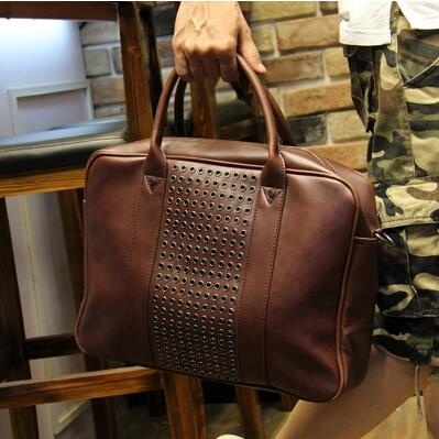 Men Korean of personality crazy horse leather portable messenger bag