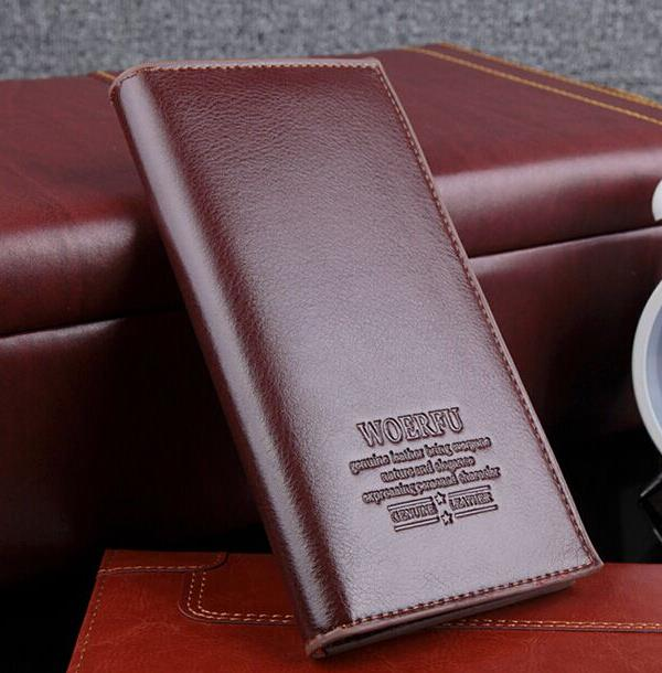 Men Korean version of multi-card bit cow leather long section wallet