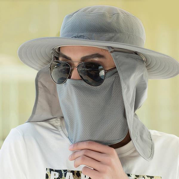 Men Outdoor Fishing Climbing Anti-UV Breathable Sun Hat - Light Grey