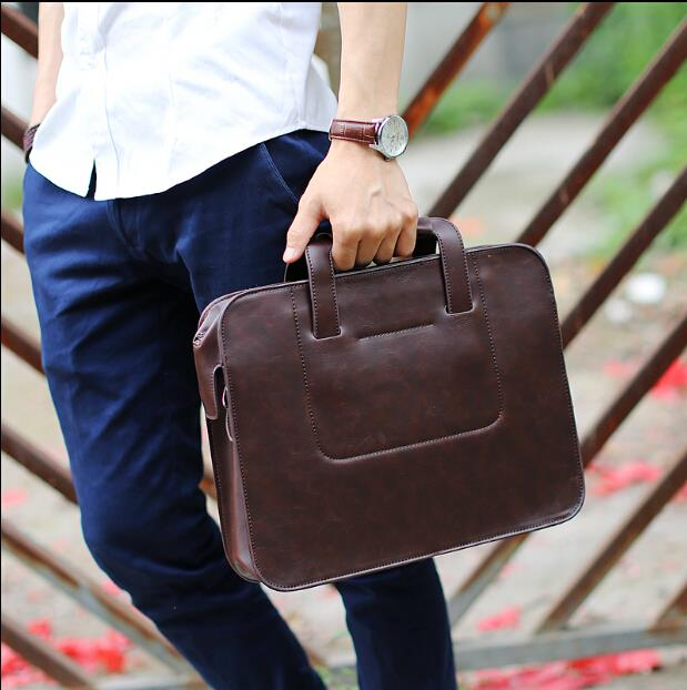 Men's business crazy horse leather carrying briefcase