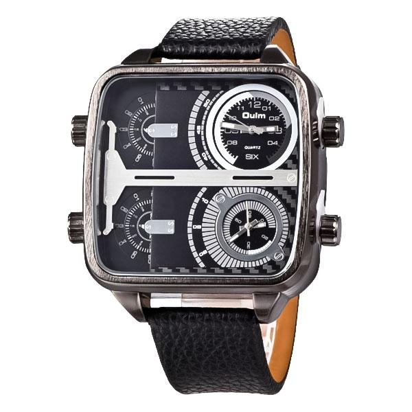 Men's Fashion Sports Watches Luxury Olum Dual Time Zone Casual Leathe