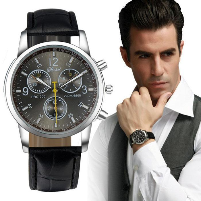 Men's Leather Analog Watch