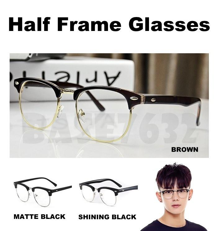 Men Women Unisex Retro Half Frame Semi Glasses Glass Lens Spec
