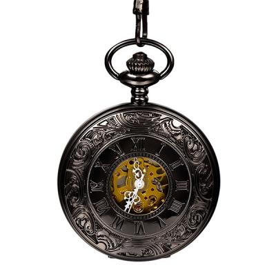 Men Women Vintage Antique Bronze Round Pocket Watches Hand-Winding