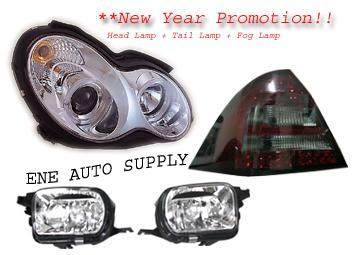 Mercedes Benz C-Class W203 Projector Head Lamp + Tail Lamp & Fog Lamp