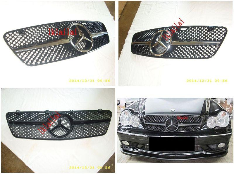 Mercedes Benz W203 AMG C63 Style Front Grille [Chrome/Black-Chrome]