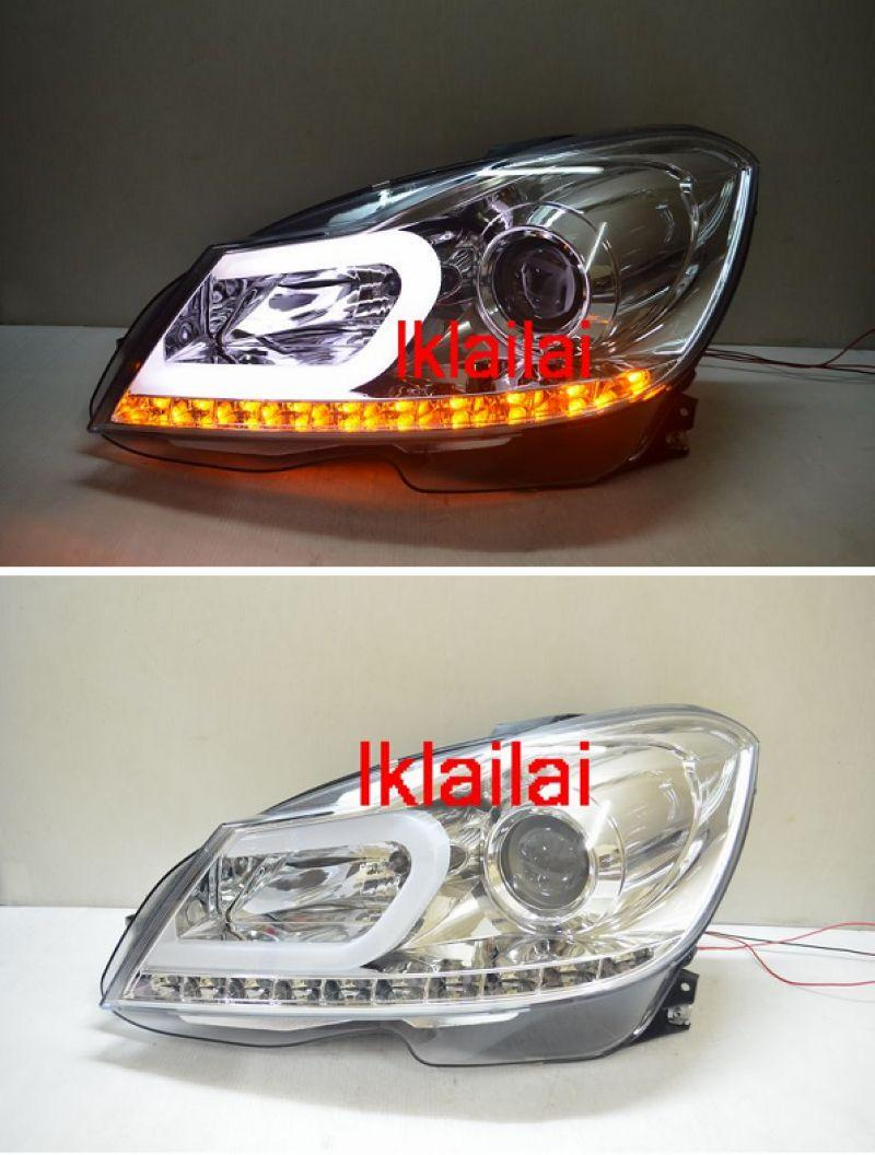 Mercedes Benz W204 '12 DRL U-Bar Projector Head Lamp [Chrome Housing]