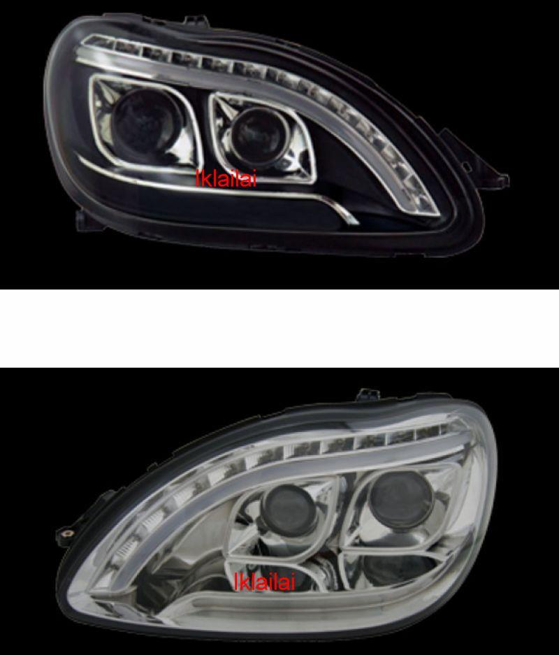Mercedes Benz W220 S350 Double Projector Head Lamp R8 LED DRL Look