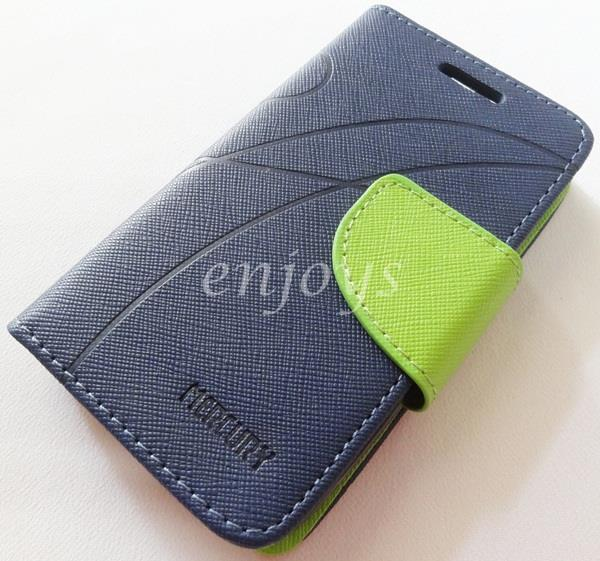 MERCURY Fancy Diary Book Case Cover Pouch Lenovo IdeaPhone A66 ~Navy