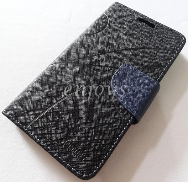 MERCURY Fancy Diary Book Case Cover Pouch Lenovo IdeaPhone P780 ~BLACK