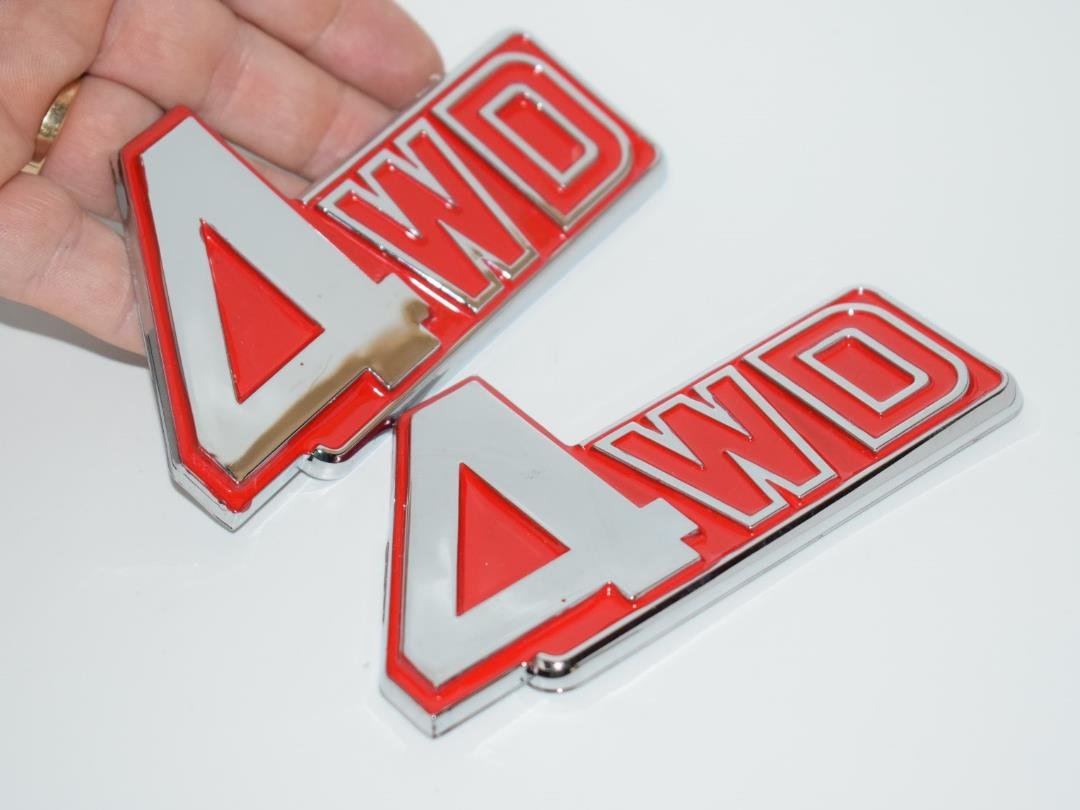 [MES-BCD] 2 Pcs 4Wd Red Chrome Badge Emblem Logo Fender Trunk Side B