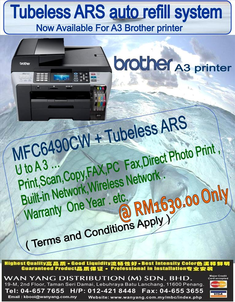 New Brother A3 Inkjet printer MFC -6490CW ARS system,