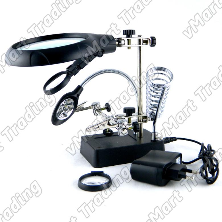 MG16129-C Helping Hand Magnifier with LED and Soldering Iron Holder