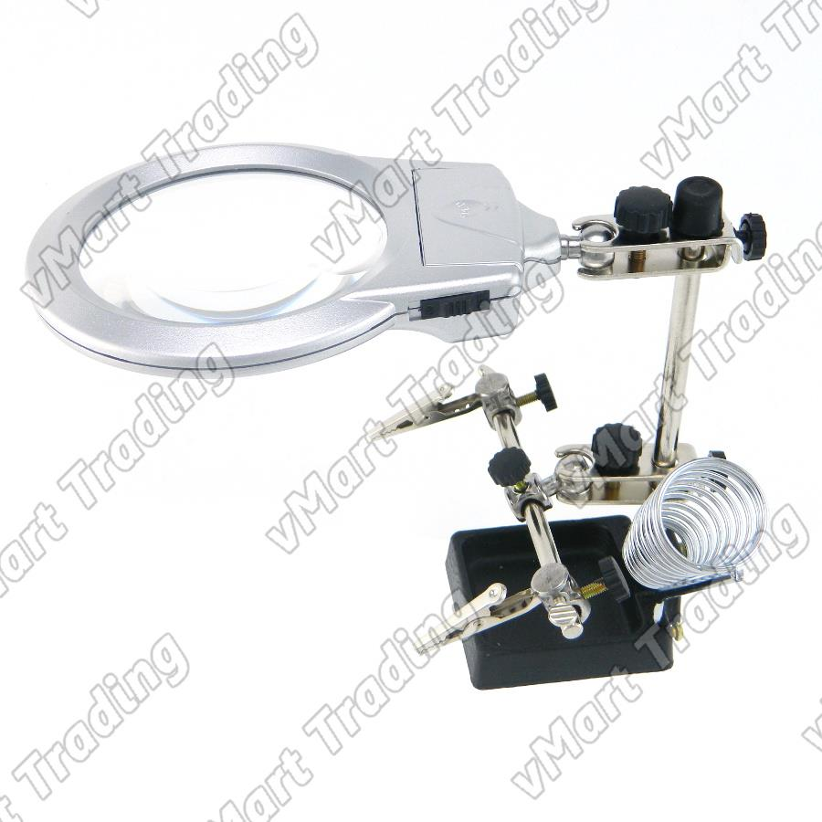 MG16129-A Helping Hand Magnifier with LED and Soldering Iron Holder