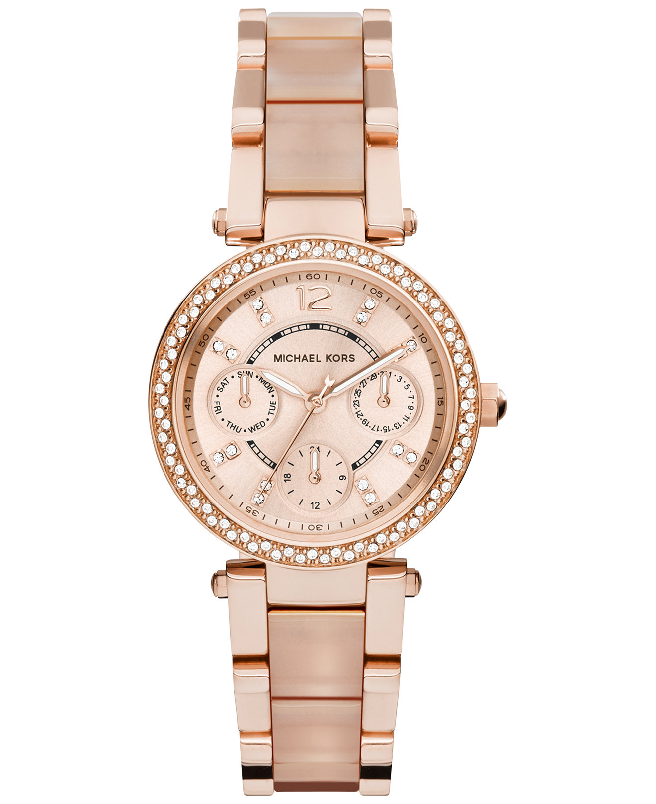 Michael Kors MK6110 Women's Mini Parker Rose Gold And Blush Acetate Ch