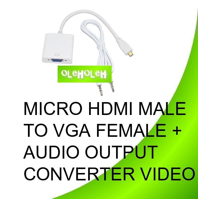Micro HDMI Male to VGA Female + Audio Output Video Converter Cable