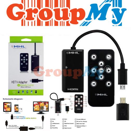 Micro USB MHL HDMI HDTV Cable adapter w/ remote control for HTC One M7