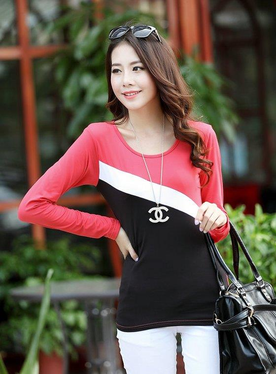 Milk Silk Mix Colour Long Sleeve Blouse (Red Melon)