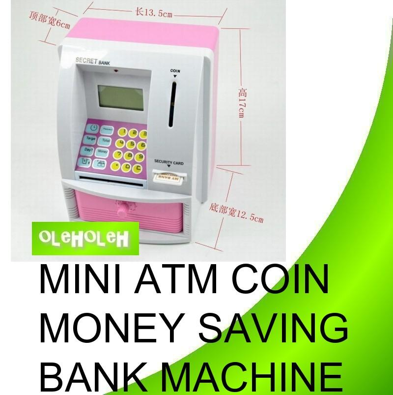 Mini ATM Coin Money Saving Bank Machine Password Alarm Screen Display