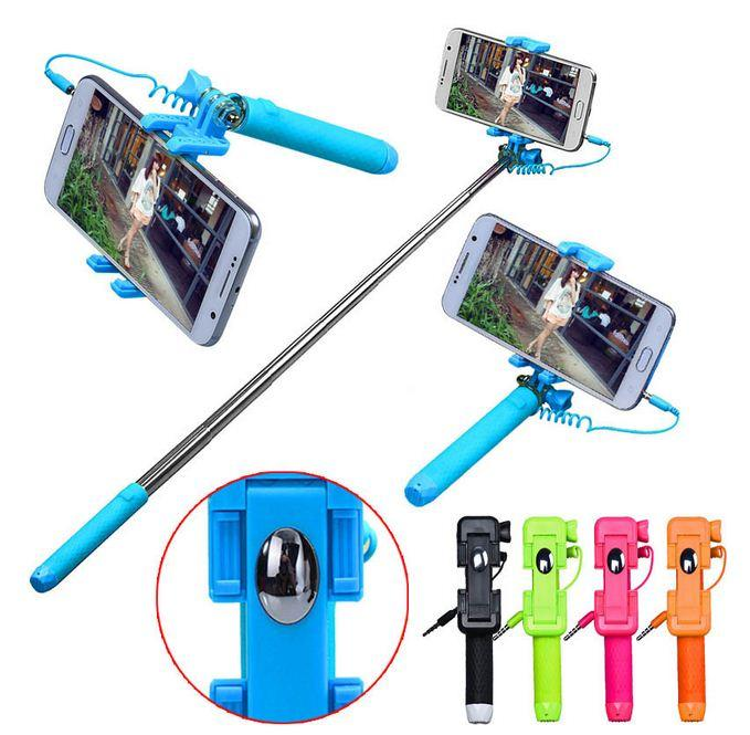 Mini Pen size Selfie Monopod shutter foldable holder with front mirror