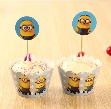 Minion Cupcake Wrapper and Topper (12 pcs)