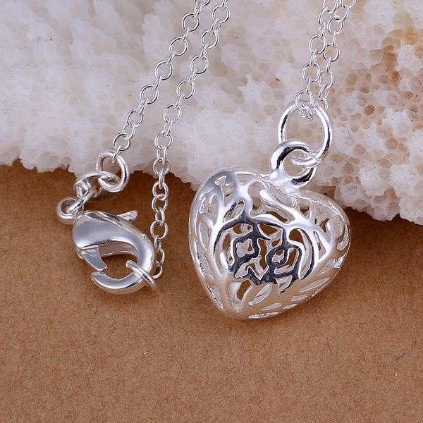 MissYap 925 Silver Small Three-Dimensional Heart Pendant Necklace P111