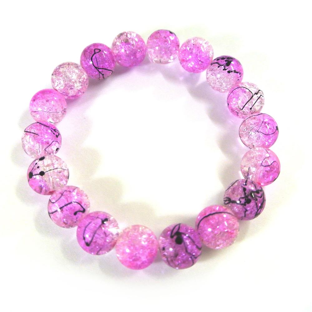 Missyap Crystal Glass Beads Pink Mottled MIY0005