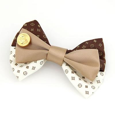 MissYap Upper Brown Sweet Bow Design Cloth Hair Clip Hair Claw HA28352