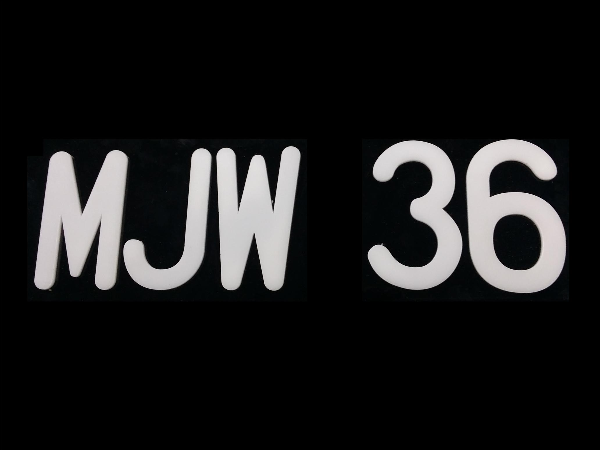 MJW FONT WHITE ACRYLIC CAR NUMBER PLATE SET 2 - 7 ALPHABET