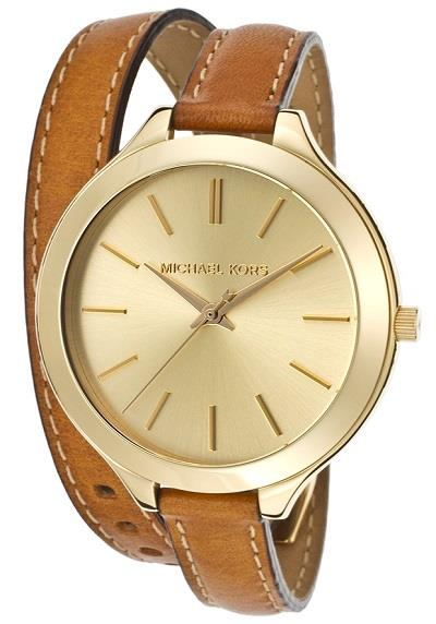 MK2256 - Runway Champagne Dial Tan Leather Women's Watch