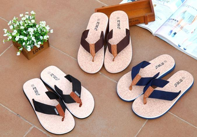 MKS73 Korean Men Fashion Beach Slippers Sandals