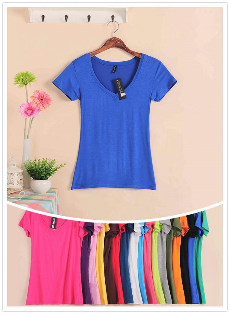 Modal Show-slim V Short Sleeve T-shirt (Many Colour)