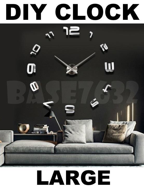 Modern  Large DIY Wall Clock 3D Sticker Big Watch Home Decoration