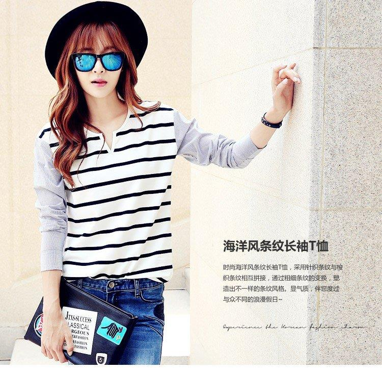 Monochrome Stripe Long Sleeve Top (iKR047366)