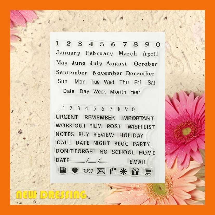 Month and Date Wording Clear Stamp - Zakka/Diary/Photobook DIY